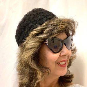 Vtg 60s Pillbox Hat Black Lace Pattern